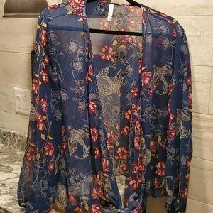 Blue print Semi Sheer Tie Front Blouse/Wrap